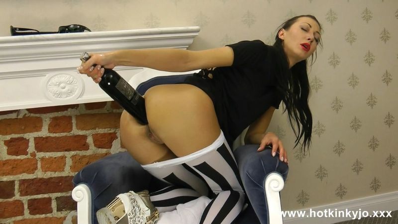 White strips tights and wine bottle in ass - 19.09.2015 - Hot kinky jo | Hotkinkyjo | 2015 | FullHD | 513 MB
